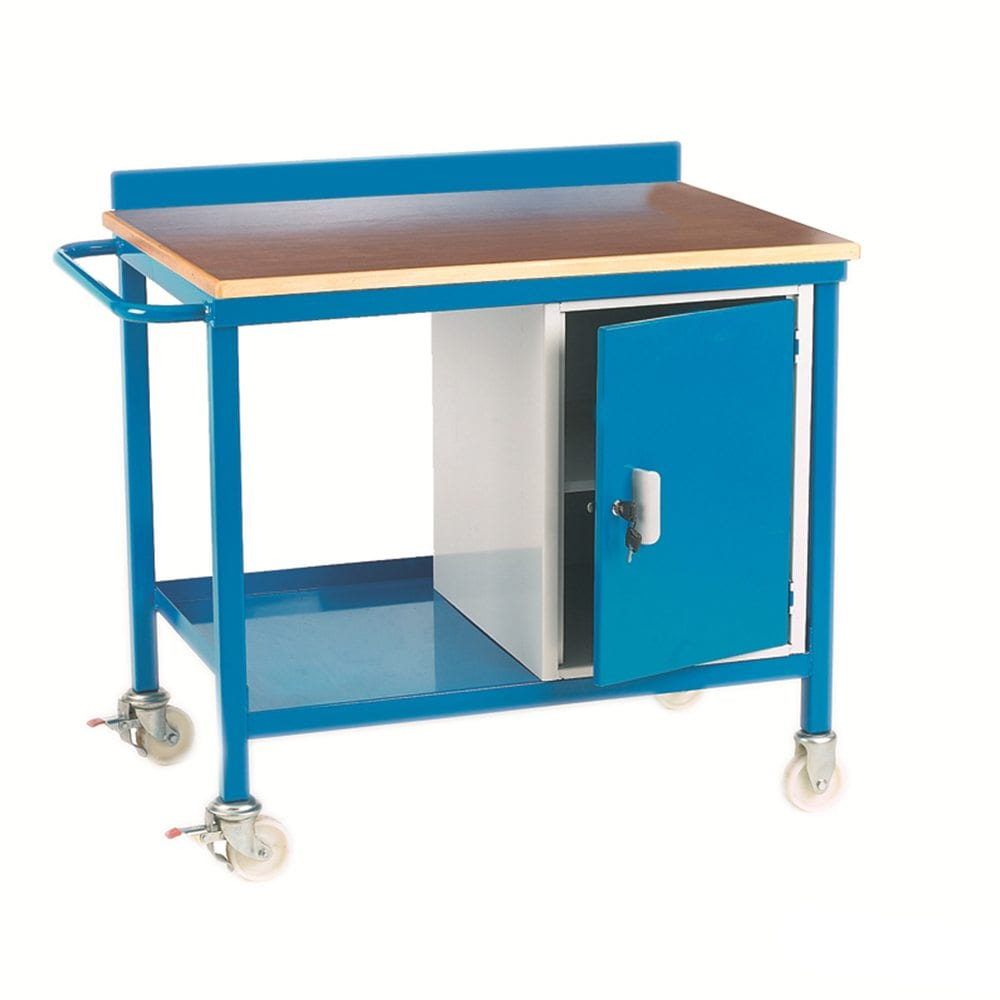 Mobile Workbench With Cupboard Plywood Top Storage Systems And Equipment